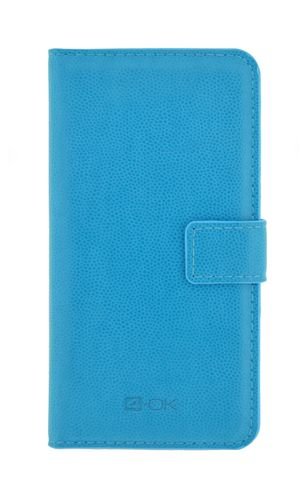 "4-OK BOOK WALLET UNIVERSAL WITH POCKET CARD -  SIZE  L- 5.1"" BLUE"