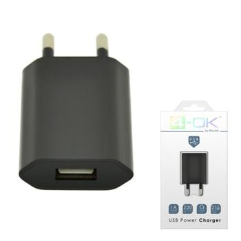 4-OK HOME CHARGER 2 USB PORTS 220V AC 2AMP