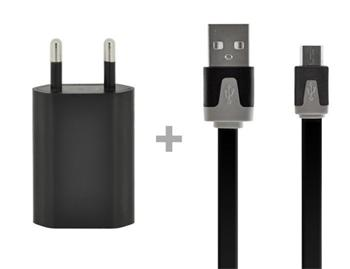 4-OK PACK CABLE DATAFLAT BLACK + TRAVEL-HOME CHARGER- 1 AMP USB BLACK