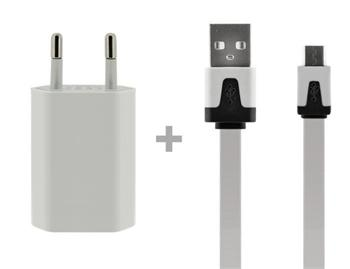 4-OK PACK CABLE DATAFLAT WHITE + TRAVEL -HOME CHARGER- 1 AMP USB WHITE