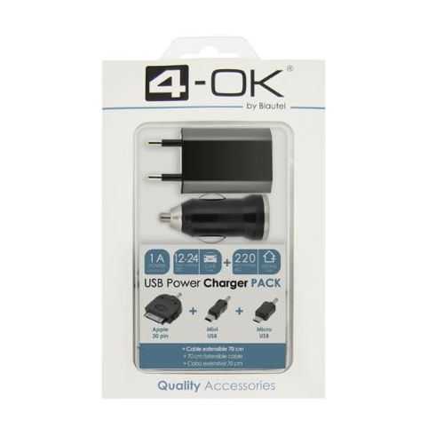 4-OK PACK USB DATA CABLE + TRAVEL + PLUG IN + 3 CONNECTORS
