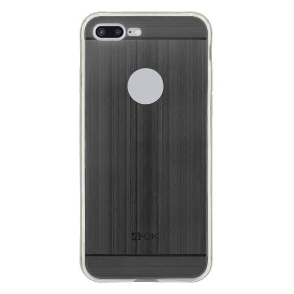 Puzdro 4-OK TPU Metal Case Pre iPhone 7 Plus, čierna