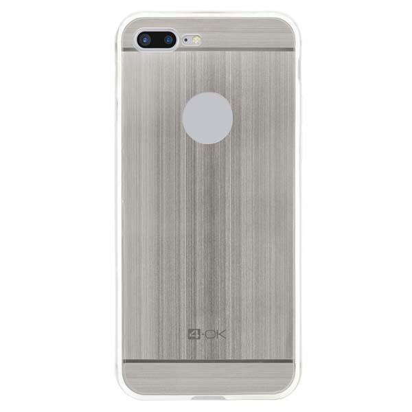 Puzdro 4-OK TPU Metal Case Pre iPhone 7 Plus, strieborná