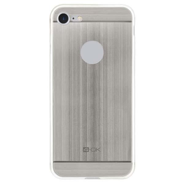 Puzdro 4-OK TPU Metal Case Pre iPhone 7, strieborná MTIP7S