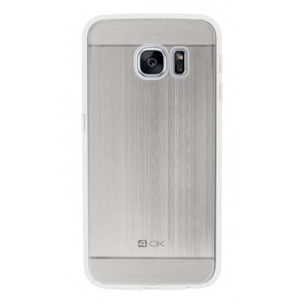 Puzdro 4-OK TPU Metal Case Pre Samsung Galaxy S7 Edge, strieborná MTS7ES
