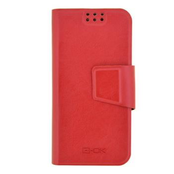 4-OK UNIBOOK CASE SIZE TIP5 -  IP 5/5S/5c  - S4 Mini, Xperia J & Similars RED COLOR