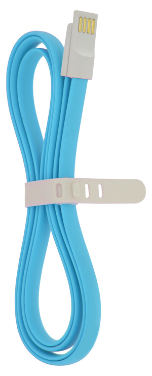 4-OK USB-MICROUSB DATA CABLE MAGNEFLAT 120 cm RUBBER BLUE COLOR