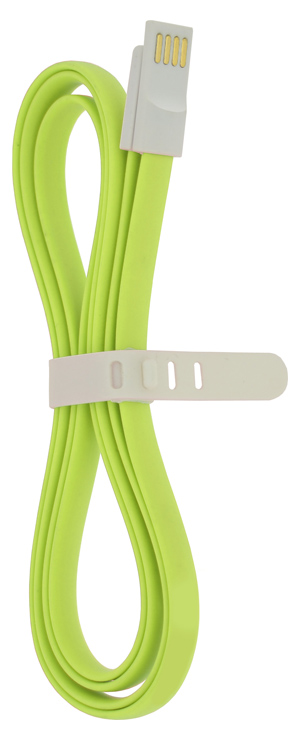4-OK USB-MICROUSB DATA CABLE MAGNEFLAT 120 cm RUBBER GREEN COLOR