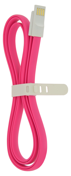 4-OK USB-MICROUSB DATA CABLE MAGNEFLAT 120 cm RUBBER PINK COLOR