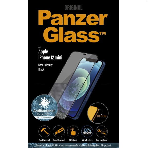 Ochranné temperované sklo PanzerGlass Case Friendly pre Apple iPhone 12 Mini, čierne