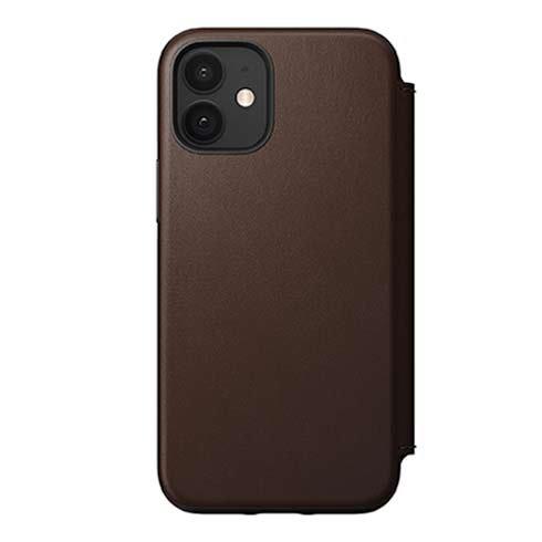 Púzdro Nomad Folio Leather kožené flipové puzdro iPhone 12 mini - hnedé NM21eR0H00
