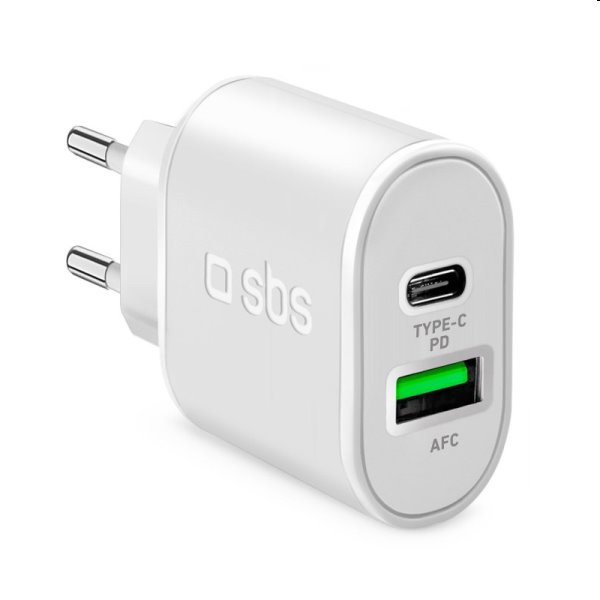 SBS Cestovný adaptér s technológiou Power Delivery USB/USB-C 20 W, biely TETRPD18W