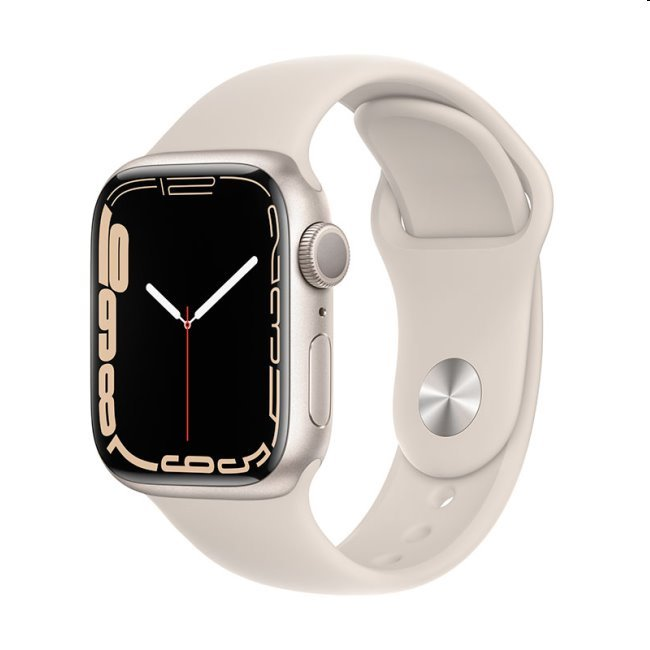 Apple Watch Series 7 GPS, 41mm Starlight Aluminium Case with Starlight Sport Band - Regular