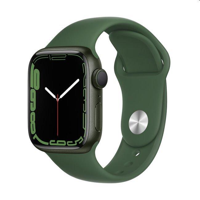 Apple Watch Series 7 GPS, 45mm Green Aluminium Case with Clover Sport Band - Regular