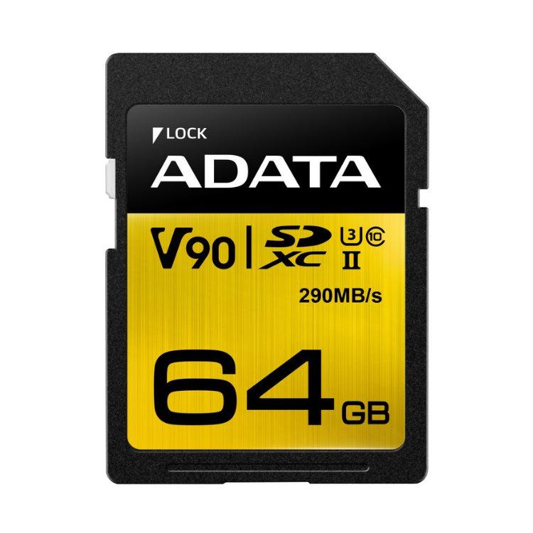 A-Data Premier ONE SDXC UHS-II U3 64GB | Class 10, rýchlosť 290/260MB/s (ASDX64GUII3CL10-C)