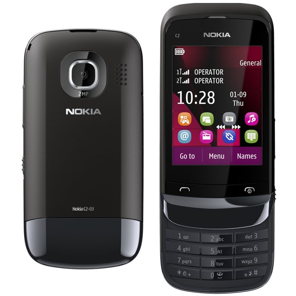 Akcia - Nokia C2-03 Touch and Type - Dual SIM, Chrome Black