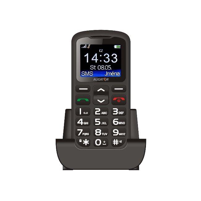 Aligator A431 Senior, Dual SIM, čierny + stolná nabíjačka