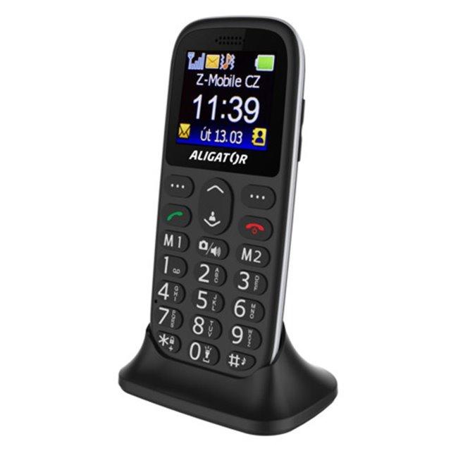 Aligator A510 Senior, Dual SIM, čierny + stolná nabíjačka