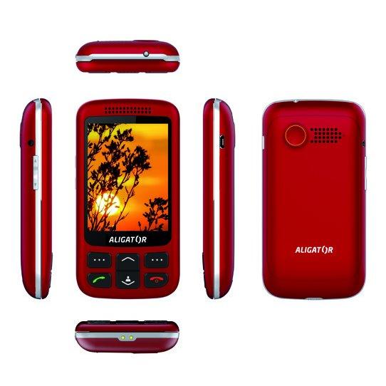 Aligator VS900 Senior, Dual SIM, červeno-strieborný + stolná nabíjačka