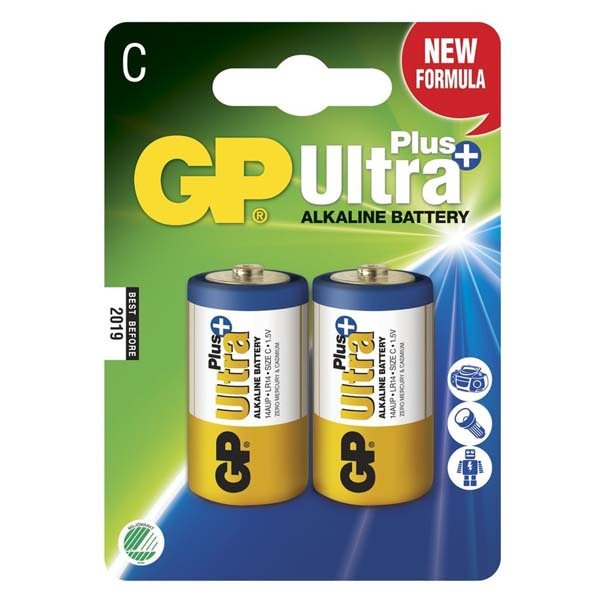 Alkalická batéria typ C, GP Ultra Plus, 2 kusy