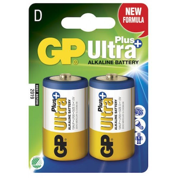 Alkalická batéria typ D, GP Ultra Plus, 2 kusy