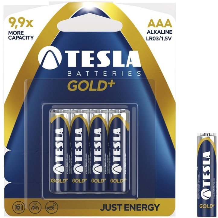 Alkalická mikrotužková batéria AAA(LR03), TESLA GOLD+, 4 kusy