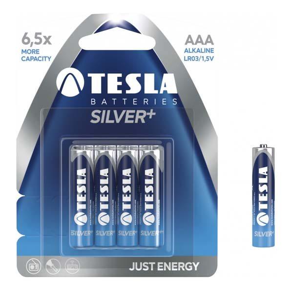Alkalická mikrotužková batéria AAA(LR03), TESLA SILVER+, 4 kusy