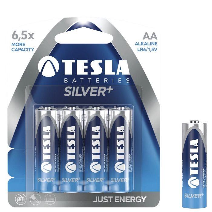 Alkalická tužková batéria AA(LR06), TESLA SILVER+, 4 kusy