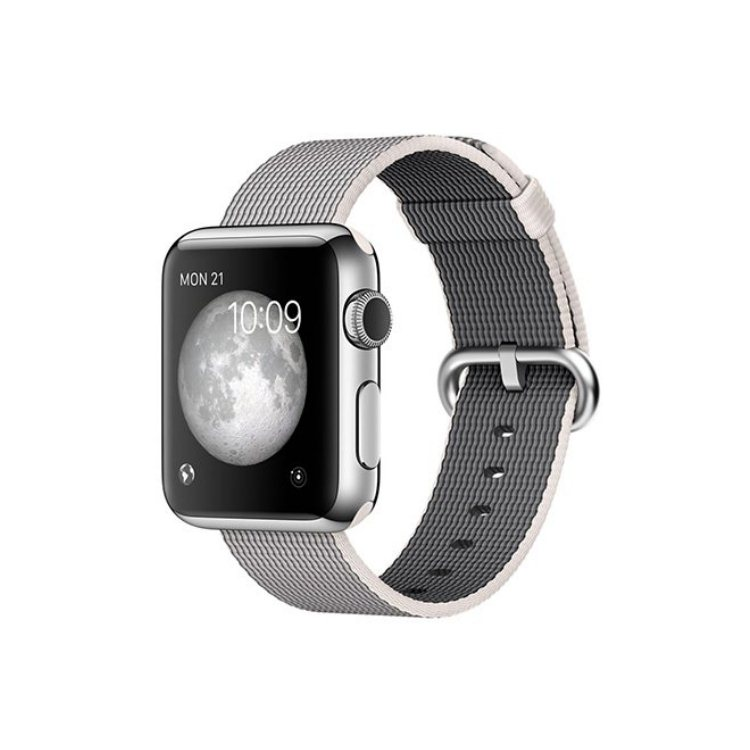 Apple Watch 38mm Stainless Steel Case with Pearl Woven Nylon MMFH2HC/A