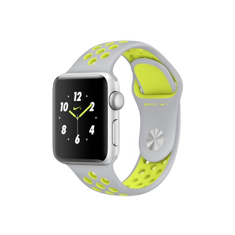 Apple Watch Nike+, 38mm Silver Aluminium Case with Flat Silver/Volt Nike Sport Band MNYP2CN/A