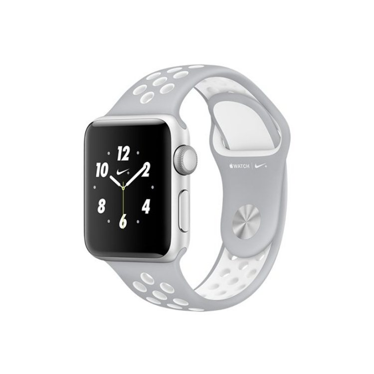 Apple Watch Nike+, 38mm Silver Aluminium Case with Flat Silver/White Nike Sport Band MNNQ2CN/A