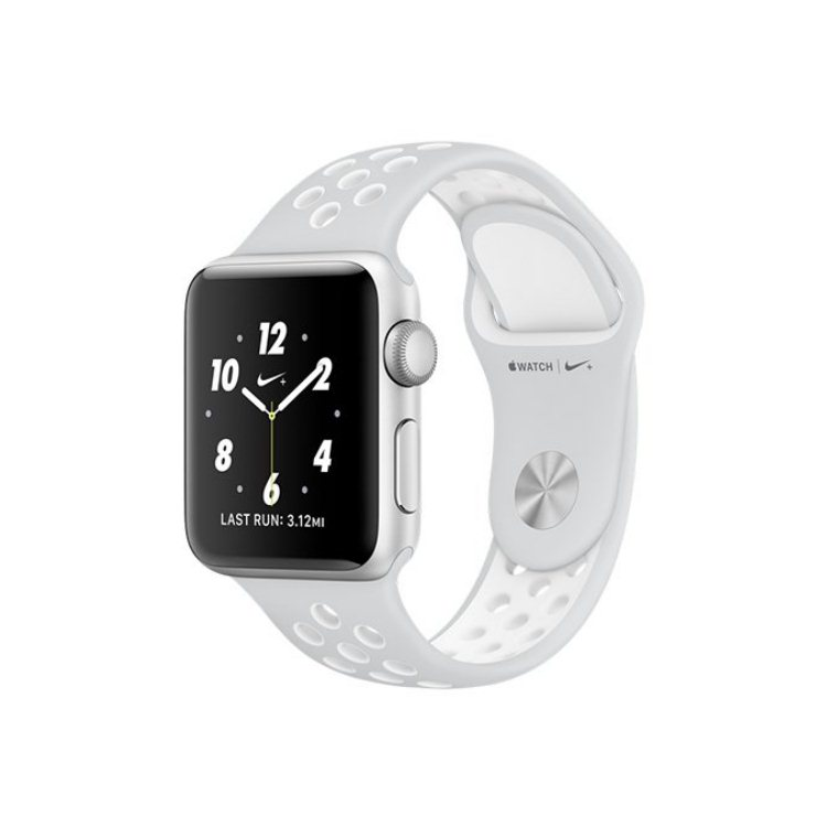 Apple Watch Nike+, 38mm Silver Aluminium Case with Platinum / White Nike Sport Band MQ172CN/A