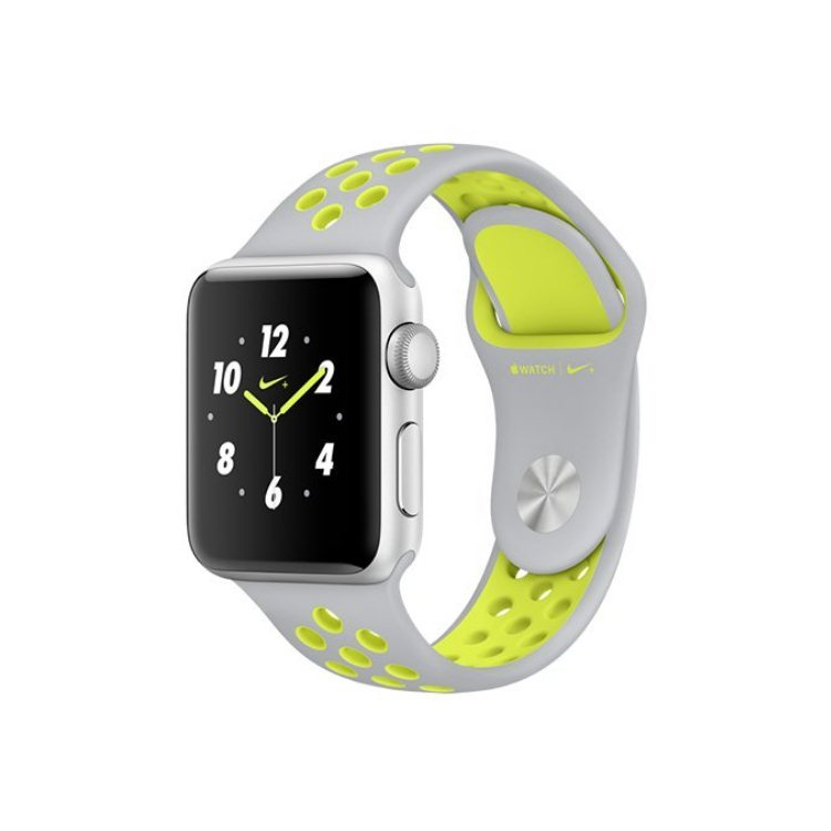 Apple Watch Nike+, 42mm Silver Aluminium Case with Flat Silver/Volt Nike Sport Band MNYQ2CN/A