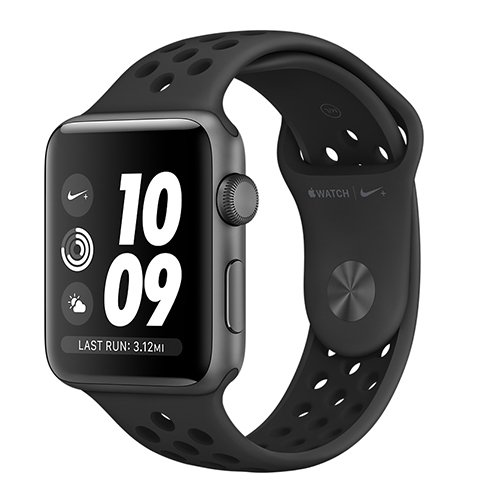 Apple Watch Nike+ GPS, Series 3, 42mm Space Grey Aluminium Case with Anthracite/Black Nike Sport Band