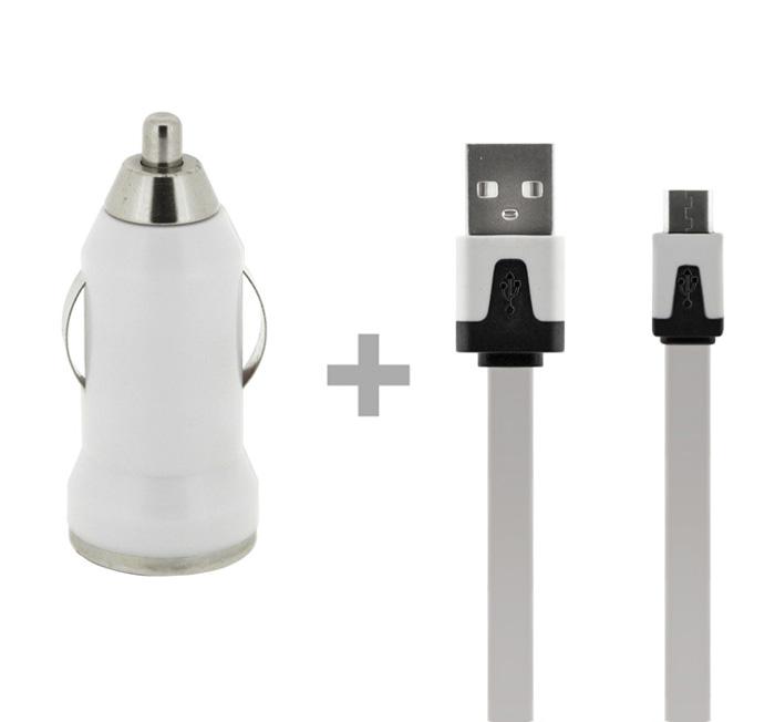 Autonabíjačka 4-OK + Dátový kábel USB,1AMP, biela