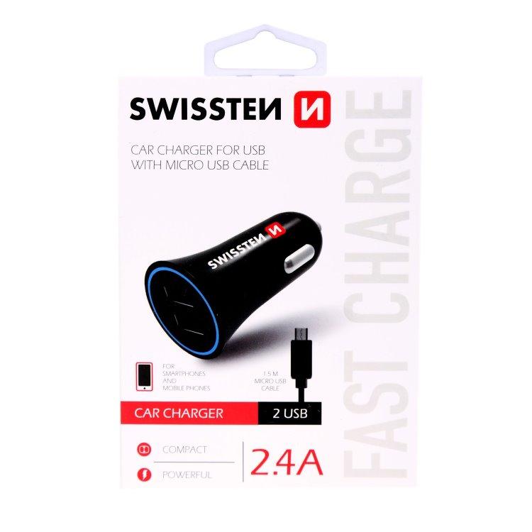 Autonabíjačka Swissten 2.4A s Micro-USB káblom, 2x USB