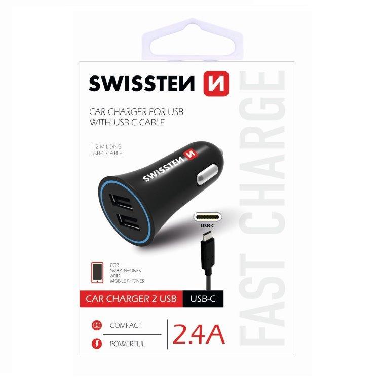 Autonabíjačka Swissten 2.4A s 2x USB + kábel USB-C