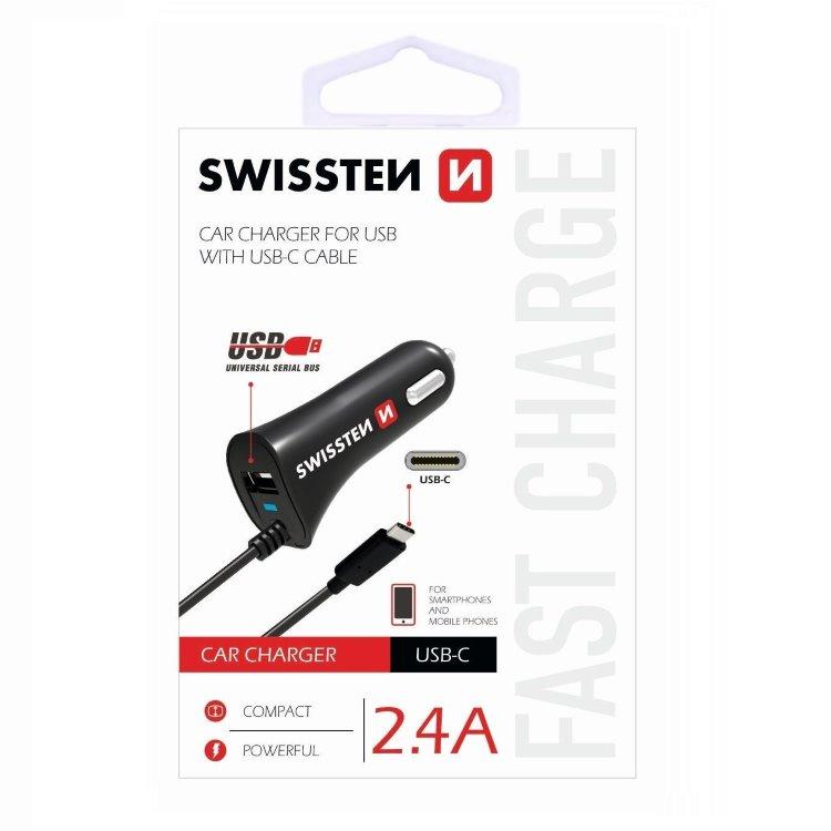 Autonabíjačka Swissten 2.4A so zabudovaným USB-C káblom a USB konektorom