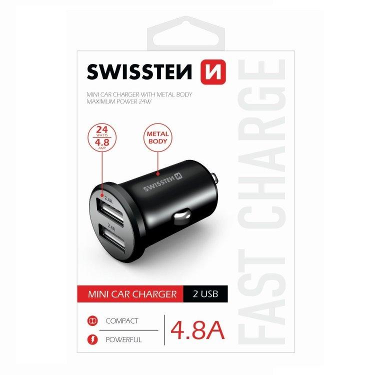 Autonabíjačka Swissten kovová 4.8A s 2 USB slotmi, Black