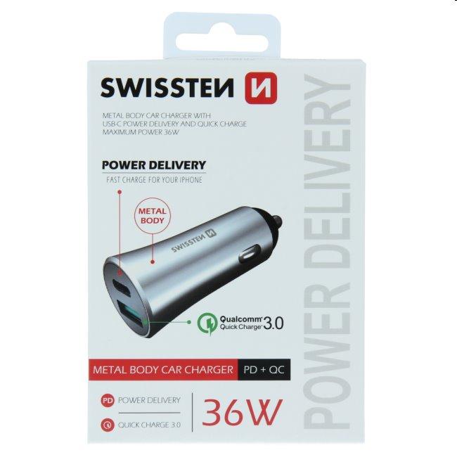 Autonabíjačka Swissten s podporou Power Delivery USB-C + Qualcomm 3.0, 36W, matná strieborná
