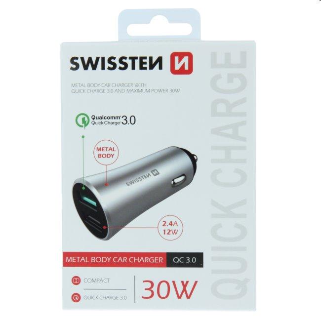 Autonabíjačka Swissten s podporou Qualcomm Quick Charge 3.0, 30W, matná strieborná