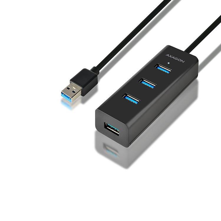 AXAGON HUE-S2BL 4x USB 3.0 hub s podporou rýchlonabíjania