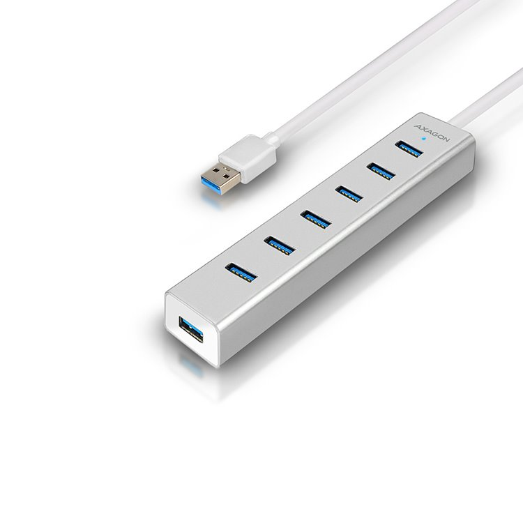 AXAGON HUE-SA7SP 7x USB 3.0 hub s podporou rýchlonabíjania, Silver