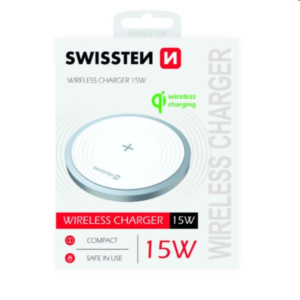 Bezdrôtová nabíjačka Swissten 15W, biela