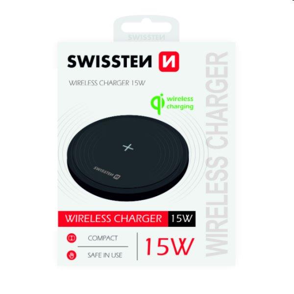 Bezdrôtová nabíjačka Swissten 15W, čierna