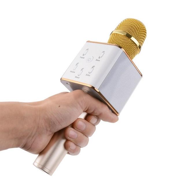 Bezdrôtový karaoke mikrofón, zlatý