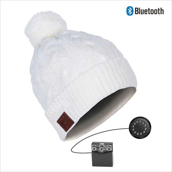 Bluetooth čiapka s brmbolcom, biela