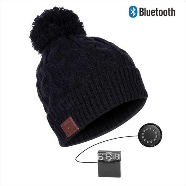 Bluetooth čiapka s brmbolcom, čierna