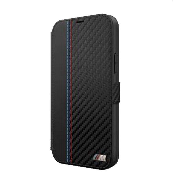 Puzdro BMW PU Carbon Contrast Book pre iPhone 12 Pro Max, Black BMFLBKP12LMCARBK