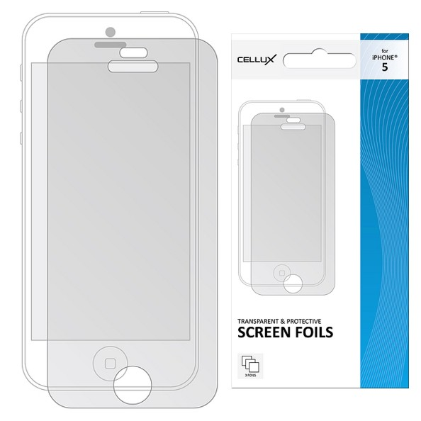 CELLUX TRANSPARENT AND PROTECTIVE SCREEN iPHONE 5, 3 kusy